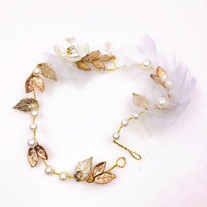 Pearl Leaves Gold Wired Hair Wrap BBC926